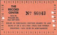 "An early form of ""frequent shopper card"" from The Record Center, a popular Chicago music store in the 50s, 60s and 70s.(Photo courtesy of Jerry Kasper)"