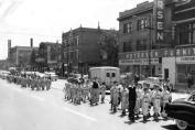 Here is a picture of a parade going west on North Avenue in '56 or '57. These are the Northwest Lions Little League Teams, which included kids from OLA. The Tiffin Theatre is visible in the backround. (Photo courtesy of Jerry Kasper)